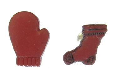 Handschuhe und warme Socke Ohrstecker Miniblings Winter Schnee Weihnachten rot – Bild 1