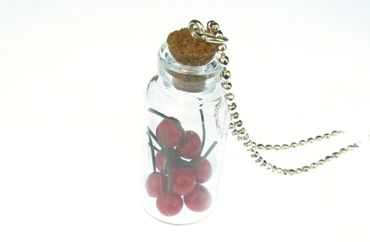 Cherries In Glass Necklace Miniblings 80cm Jam Storage Jar Bottle – Bild 2