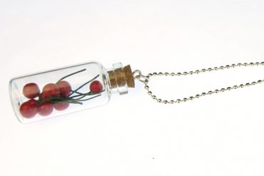 Cherries In Glass Necklace Miniblings 80cm Jam Storage Jar Bottle – Bild 3