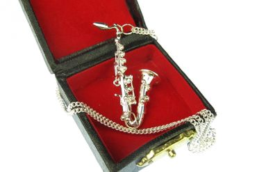 Saxophone Necklace Miniblings silver plated 60cm + Box Sax – Bild 1