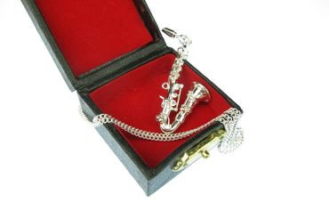 Saxophone Necklace Miniblings silver plated 60cm + Box Sax – Bild 2