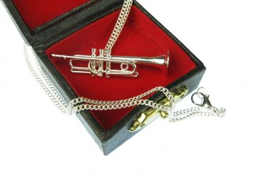 Trumpet Necklace Miniblings Orchestra 60cm + Box Silver Plated – Bild 2