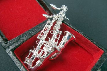 Saxophone Earrings Miniblings Jazz Saxophones Sax Silver Plated With Box – Bild 3