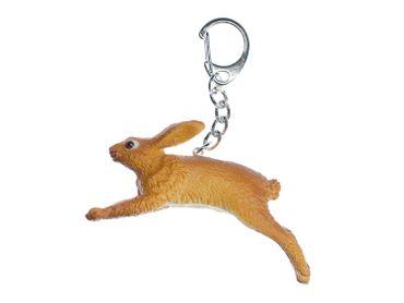 Hase Schlüsselanhänger Miniblings springend Gummi 75mm braun Kaninchen Osterhase – Bild 1