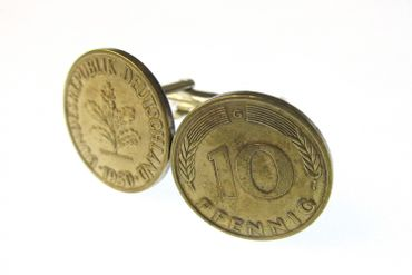 10 Pfennig German Germany DM Cuff Links Cufflinks Miniblings BRD Coin Mark money Pennies – Bild 2
