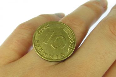 10 Pfennig German Germany Coin Ring Miniblings BRD Mark DM Penny Money Number – Bild 2