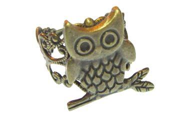 Eulenring Ring Eule Uhu Miniblings Fingerring Kauz Uhu Vogel romantisch bronze – Bild 2