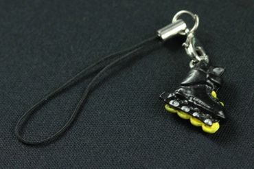 Inline Skates Roller Skate Mobile Phone Charm Pendant Miniblings Disco Retro Black Yellow – Bild 2
