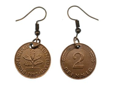 2 Pfennig German Germany Coin Earrings Miniblings BRD Mark Money Lucky Penny Luck – Bild 1