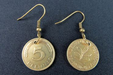 5 Pfennig German Germany Coin Earrings Miniblings BRD Mark Money Lucky Penny Luck – Bild 2