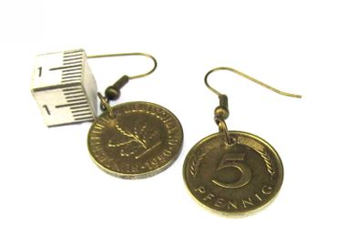 5 Pfennig German Germany Coin Earrings Miniblings BRD Mark Money Lucky Penny Luck – Bild 3