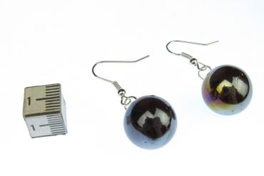 Marble Earrings Miniblings Glass Game Colored Dark Mirror – Bild 1