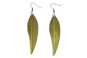 Leaf Earrings Miniblings Leaves Tree Spring Small filigree nature Bronze 70mm