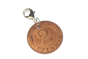 2 Pfennig German Germany Coin Charm For Bracelet Wristlet Pendant Miniblings BRD Lucky Penny Luck – Bild 1