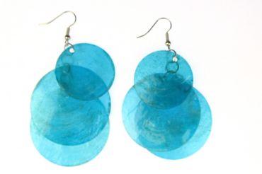 Perlmutt Ohrringe Miniblings Muschel Perlmuttscheiben Hippie Boho blau XL – Bild 2