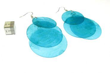 Perlmutt Ohrringe Miniblings Muschel Perlmuttscheiben Hippie Boho blau XL – Bild 3