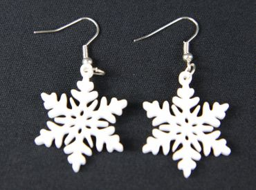 Snowflake Earrings Miniblings Frost Pattern Christmas Star Acrylic 3cm – Bild 2