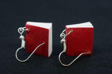 Book Earrings Miniblings Books Book Earrings Bookworm Pages Book Red – Bild 3