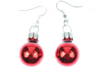 Glitter Ball Earrings Miniblings Glitter Balls Red Gloss – Bild 1