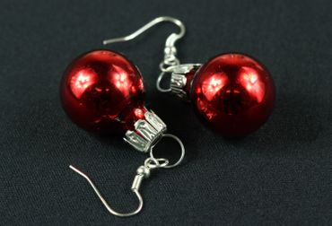 Glitter Ball Earrings Miniblings Glitter Balls Red Gloss – Bild 2
