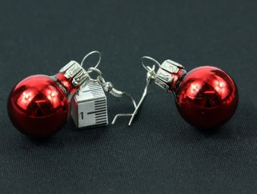 Glitter Ball Earrings Miniblings Glitter Balls Red Gloss – Bild 4