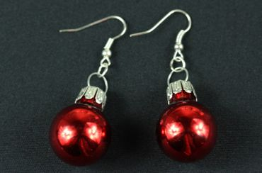 Glitter Ball Earrings Miniblings Glitter Balls Red Gloss – Bild 5