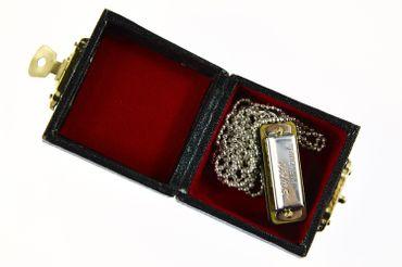 Mundharmonika SPIELBAR Kette Halskette Miniblings 80cm Musik Musiker mit Box – Bild 2