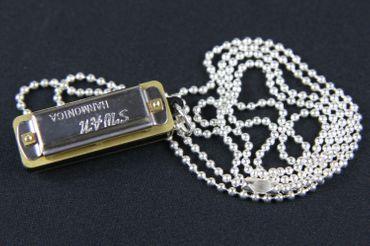 Mundharmonika SPIELBAR Kette Halskette Miniblings 80cm Musik Musiker mit Box – Bild 3