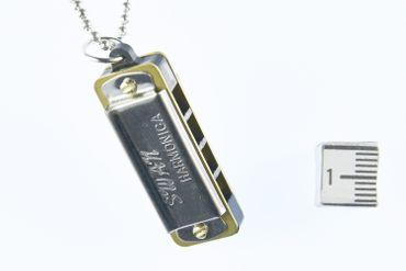 Mundharmonika SPIELBAR Kette Halskette Miniblings 80cm Musik Musiker mit Box – Bild 5