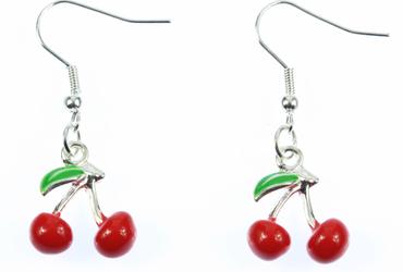 Kirschen Ohrringe Hänger Miniblings Cherry Kirsche Rockabilly 3D rot emailliert – Bild 1