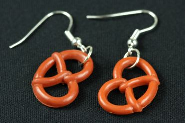 Pretzel Earrings Miniblings Oktoberfest Pretzel Brown – Bild 1