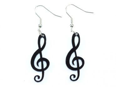 Treble Clef Earrings Miniblings Notes Music Musician Clef Black