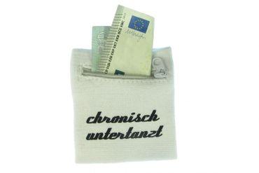 Schweißband Pulswärmer Reißverschluss Geldbörse CHRONISCH UNTERTANZT weiß – Bild 2