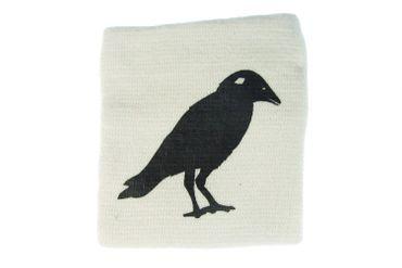 Sweatband Wristband Wrist Warmer With Zipper Pull Purse Miniblings Raven Bird White – Bild 1