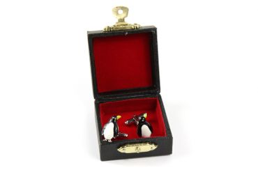 Penguin Cuff Links Cufflinks Miniblings Buttons With Box Antarctic Ice Penguins Enamel – Bild 1