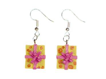 Geschenk Ohrringe Miniblings Geschenke Weihnachten Päckchen Bescherung gelb – Bild 1