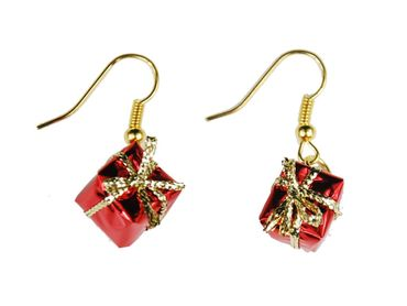 Gift Earrings Miniblings Gifts Christmas Parcels Presents Red – Bild 1