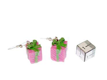 Gift Earrings Miniblings Gifts Christmas Packages Mess Pink – Bild 2