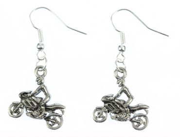 Motorcyclists Earrings Motorcycle With Driver Miniblings Biker Silver – Bild 1