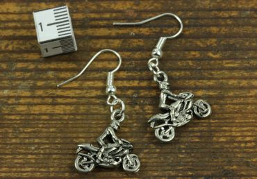 Motorcyclists Earrings Motorcycle With Driver Miniblings Biker Silver – Bild 2