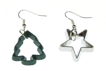 Ramekins Earrings Cookie Cutter Star Silver Fir Green Christmas Baking Biscuit – Bild 1