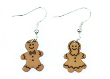 Gingerbread Man And Woman Earrings Pair Christmas Gingerbread Cookie Miniblings
