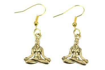 Buddha In The Lotus Position Yoga Meditation Miniblings Pendant Tibet Gold Plated – Bild 1
