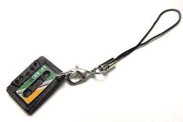 Kassette Tape Handyanhänger Miniblings Handyschmuck Musik Mixtape DJ grün orange – Bild 1