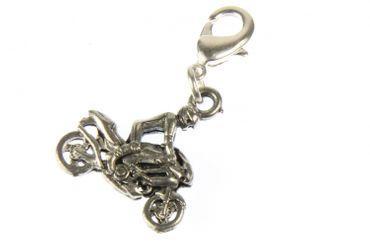 Motorcyclist Charm Silver Biker For Charm For Bracelet Wristlet Dangle Bike motorbike Miniblings – Bild 1