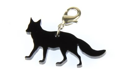 Fox Charm Silhouette Pendant Miniblings forest tale foxes animal Acrylic Black