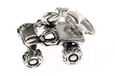 Quad Charm cross-country all terrain Vehicle Miniblings Motorcross Offroad Car truck Silver Car – Bild 2