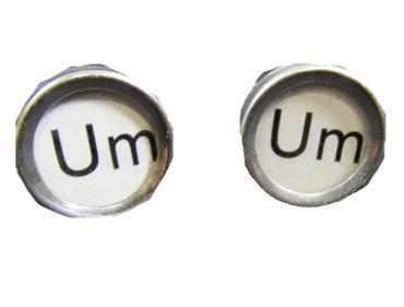 UM Manschettenknöpfe weiß Vintage Schreibmaschinetasten Miniblings Taste Unikat – Bild 4