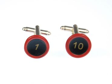 1 - 10 Cuff Links Cufflinks Typewriter Keys Vintage Miniblings Red Black Resin – Bild 2