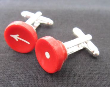 Dot Arrow Cuff Links Cufflinks Typewriter Keys Miniblings Vintage Red Resin – Bild 1